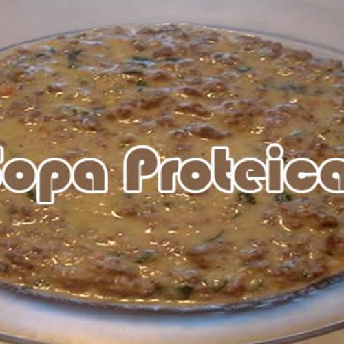 Sopa proteica de frango ou carne moída
