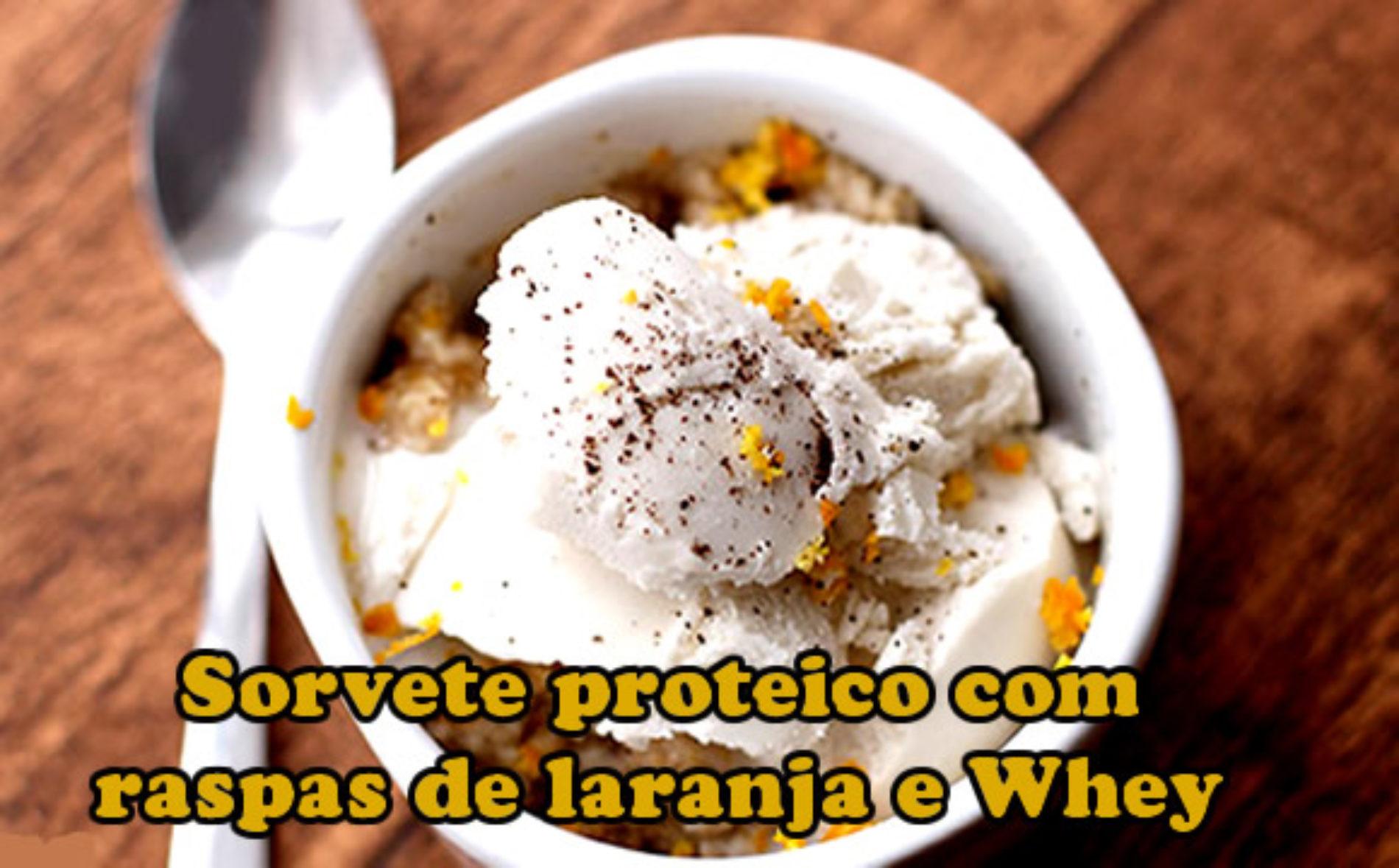 Sorvete baunilha com aveia, laranja e rico em proteinas