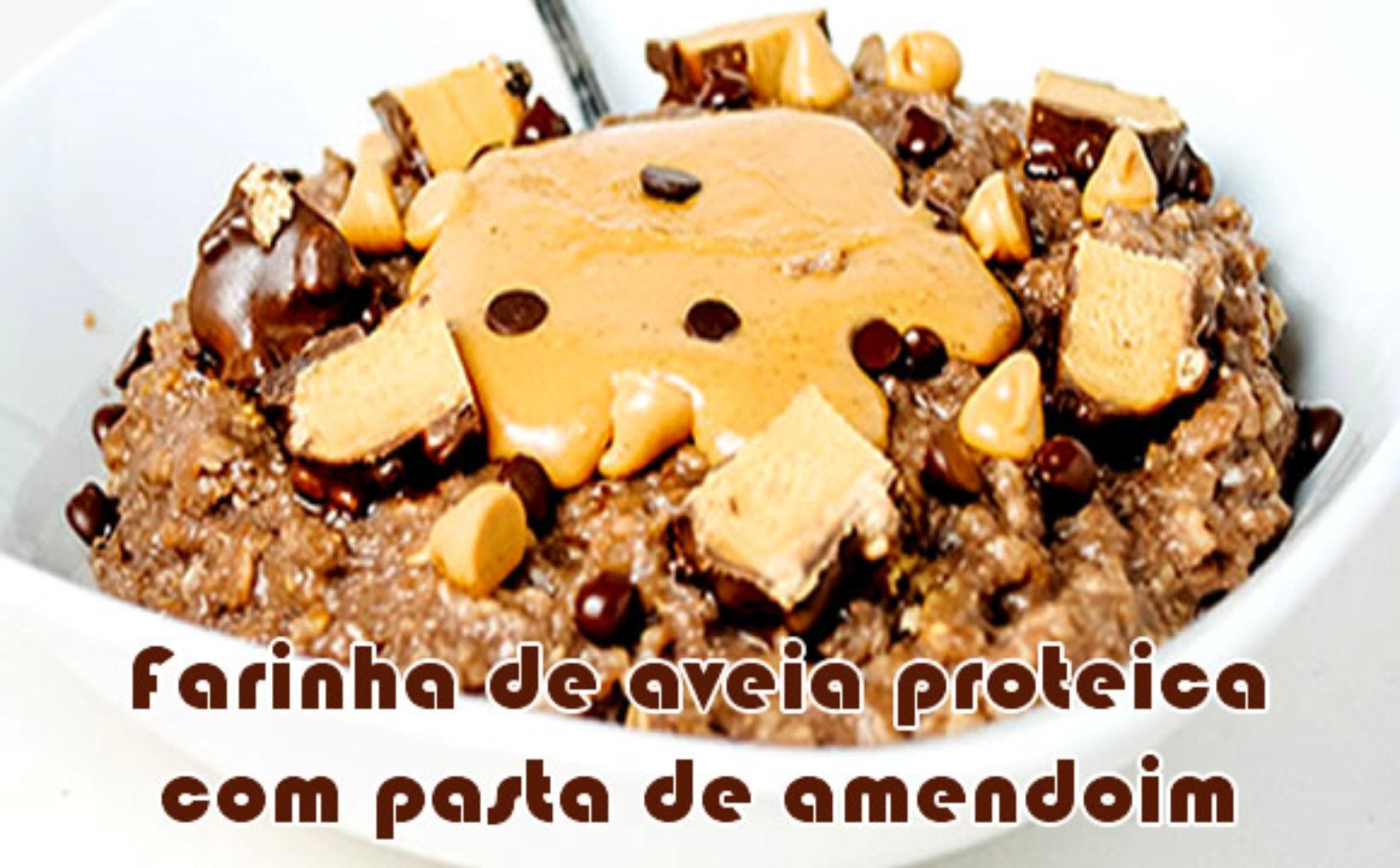 Manteiga de amendoim proteica com chocolate e aveia