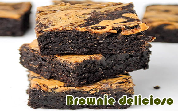 receita proteica brownies de chocolate com amendoim