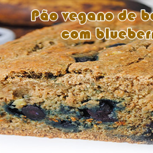 Pão vegano de banana e blueberry