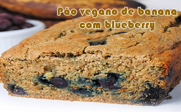 pao vegano banana e blueberry