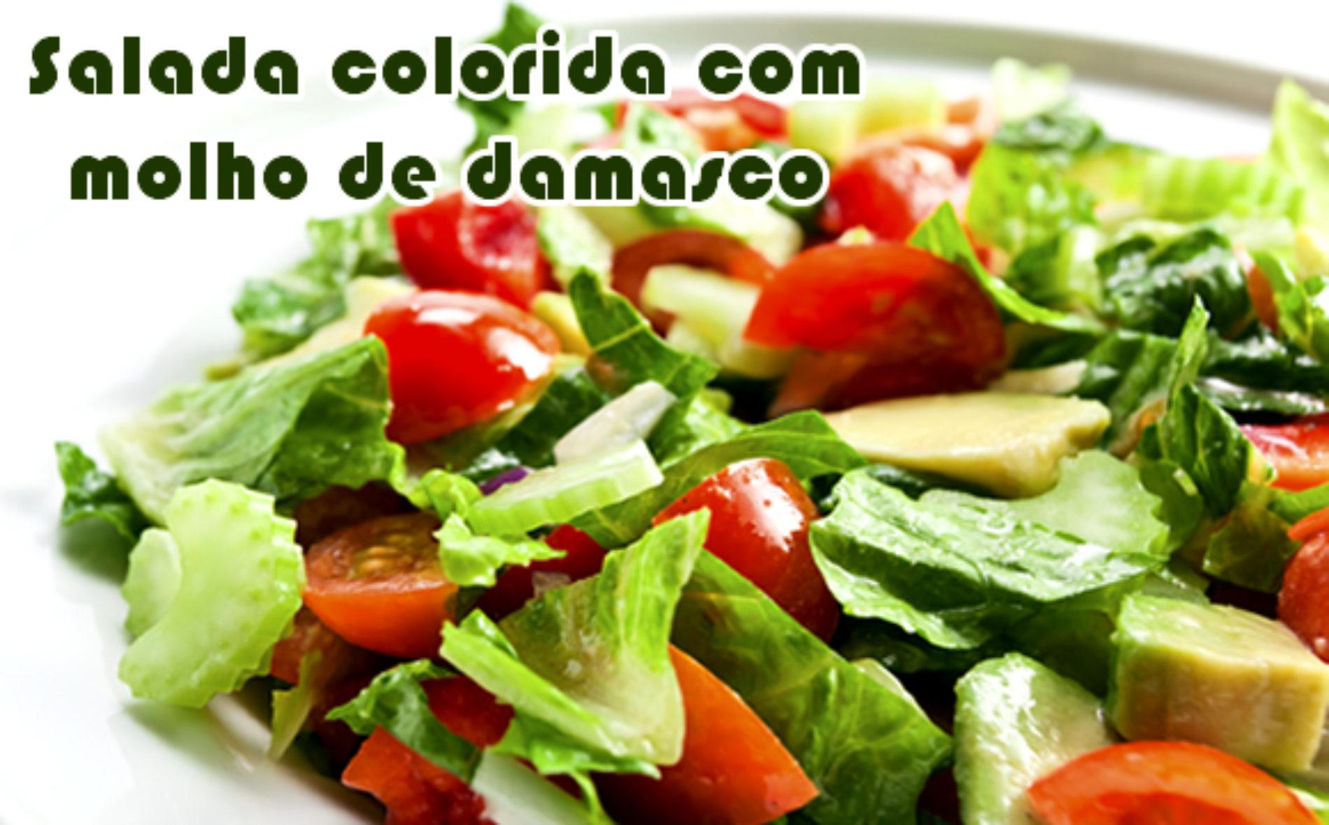 Salada colorida com molho de damasco light