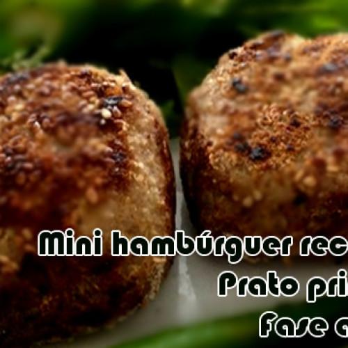 Mini hambúrguer recheado com requeijão FIT