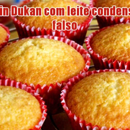 Muffin Dukan de baunilha com leite condensado falso
