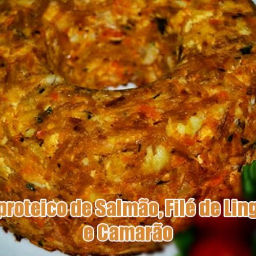 Bolo proteico com peixe e frutos do mar