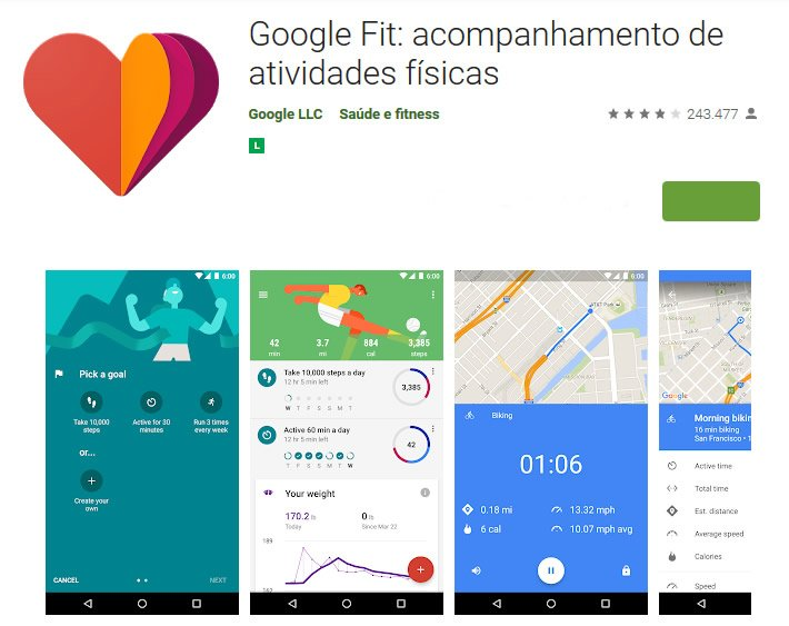 aplicativo google fitness exercicios fit