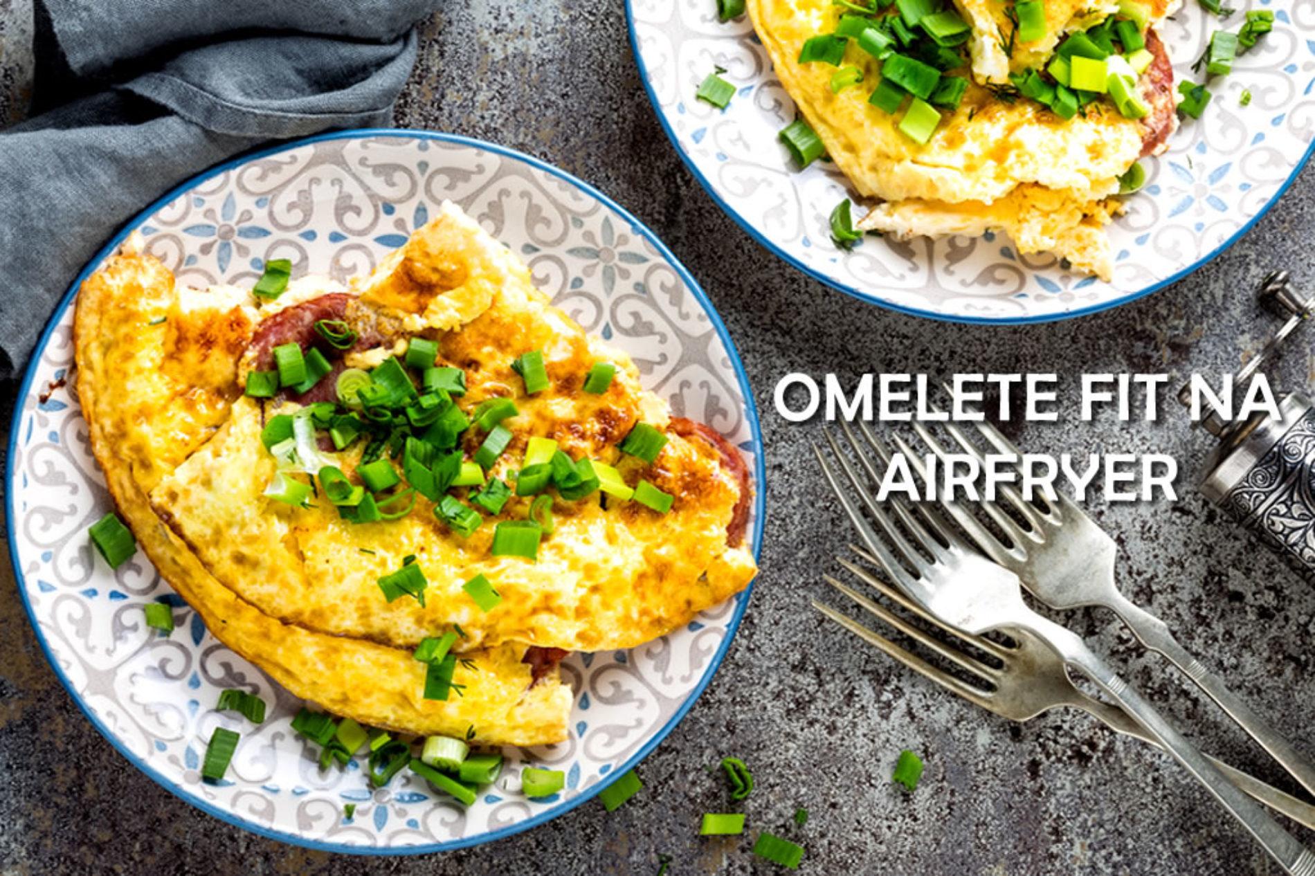 Omelete fitness de presunto e queijo na AirFryer